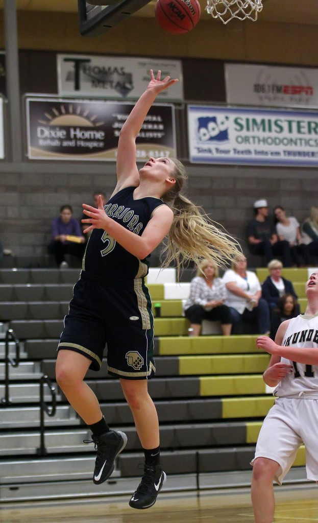 Warrior F Shaylee Reed (5), file photo from Snow Canyon vs. Desert Hills, St. George, Utah, Feb. 5, 2015 | Photo by Robert Hoppie, ASPpix.com, St. George News