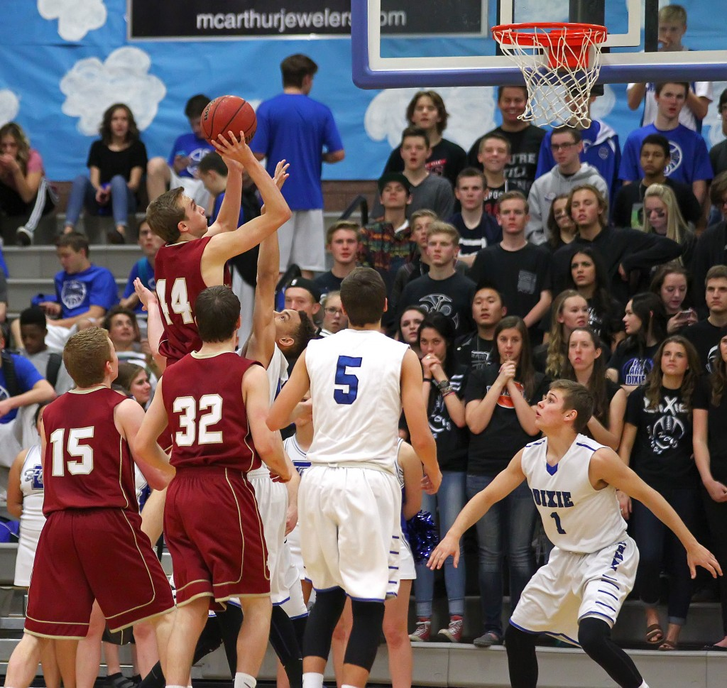 Ben Brown (44) with a short jumper for Cedar, Dixie vs. Cedar, Boys Basketball, St. George, Utah, Feb. 6, 2015   Photo by Robert Hoppie, ASPpix.com, St. George News
