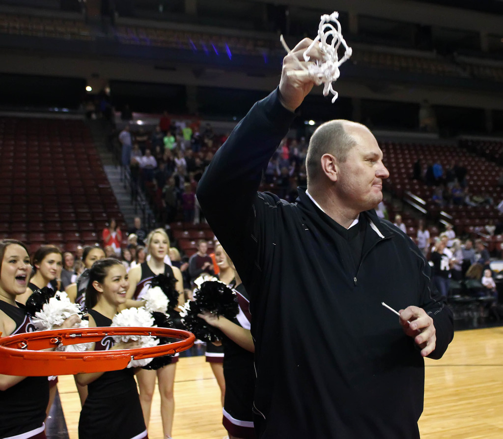 Panther Head Coach Darrell Larsen cuts down the net after winning the state championship, Pine View vs. Dixie, 3A State Basketball Championship, Salt Lake City, Utah, Feb. 28, 2015 | Photo by Robert Hoppie, ASPpix.com, St. George News