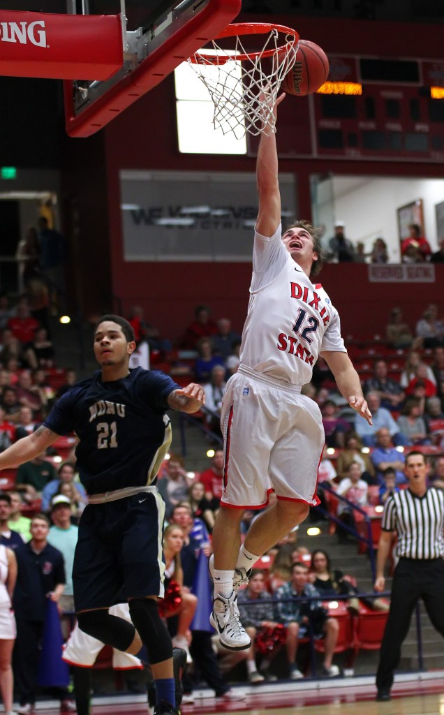 Mason Sawyer (12) with a fast break layup, Dixie State University vs. Notre Dame De Namur, Mens Basketball, St. George, Utah, Feb. 7, 2015 | Photo by Robert Hoppie, ASPpix.com, St. George News