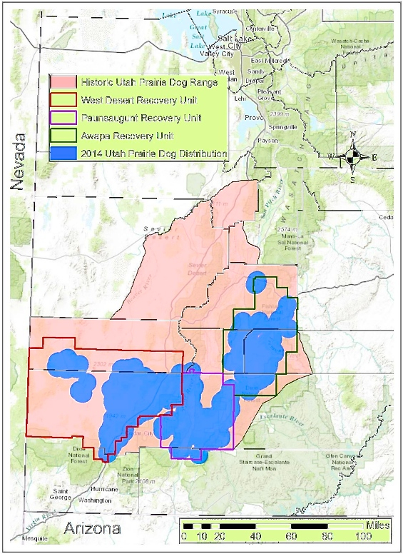 Approximate boundaries of the three Utah prairie dog recovery units as described in the Utah Prairie Dog Recovery Plan. Fig. 2 to draft of Utah Prairie Dog Management Plan for Non0federal Lands as revised Feb. 17, 2015 | Image courtesy of the Utah Division of Wildlife Resources, St. George News