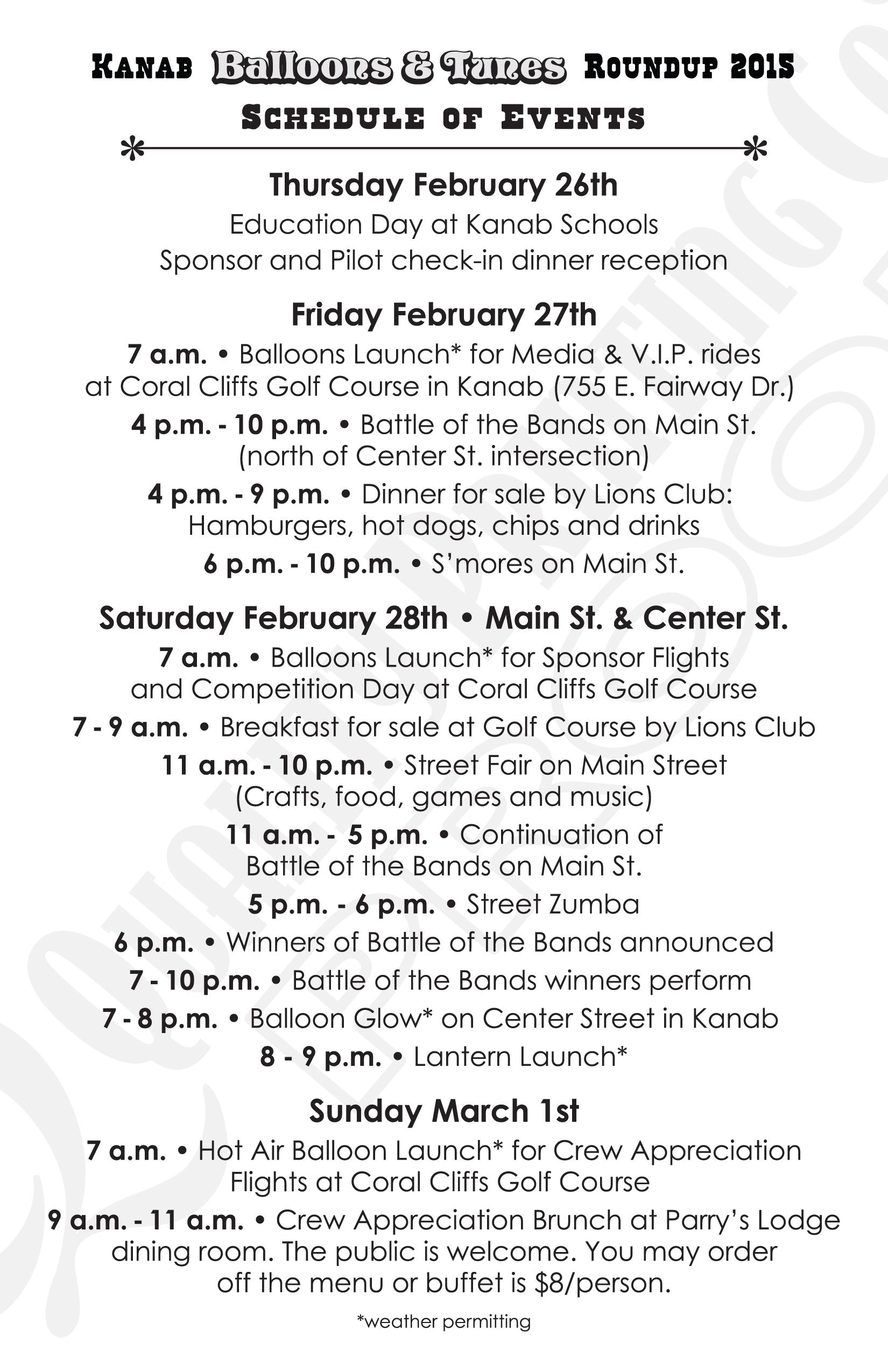 Schedule of events for Kanab Balloons & Tunes Roundup, Kanab, Utah, Feb. 27, 2015 | Image courtesy of Kanab Balloons & Tunes Roundup, St. George News