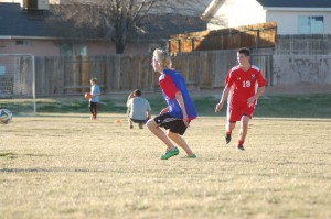 Members of Rage Football Club show off their ball handling skills at a soccer practice held at Panorama Elemetary, St. George, Utah, Feb. 12, 2015 | Photo by Hollie Reina, St. George News