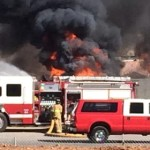 Fire crews battle house fire in Hurricane, Utah, Feb. 25, 2015 | Photo courtesy of Travis Millett, St. George News