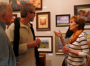 Arlene Braithwaite engages discussion with gallery supporters, Artisans Art Gallery, Cedar City, Utah, Feb. 21, 2015 | Photo by Carin Miller, St. George News