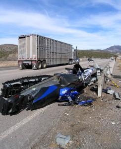 Single car accident involving a California SUV, Interstate 15, Pintura, Utah, Feb. 5, 2015 | Photo by Carin  Miller, St. George News