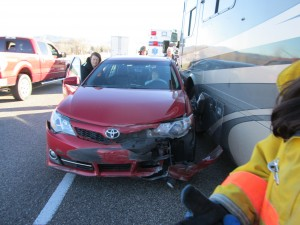 A Toyota Corolla collides with a motor home, Beaver, Utah, Feb. 10, 2015 | Photo courtesy of Utah Highway Patrol, St. George News