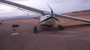 An experimental plane crashed at the St. George Municipal Airport due to being caught by a crosswind while landing, St. George, Utah, Feb. 21, 2015 | Photo courtesy of Brad Kitchen, City of St. George, St. George News