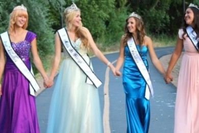 The 2014 Miss St. George Royalty from left:  second attendant Savanah Aplanalp, crowned princess Ciara Hamblin, first attendant Brittney Werner,  and Miss Congeniality Brooklynn Kauvaka | Photo courtesy of Cristina Werner