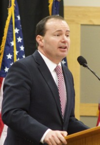 Sen. Mike Lee, Lincoln Day Breakfast, St. George, Utah, Feb. 14, 2015 | Photo by Rhonda Tommer, St. George News