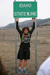 """Utah's Forrest Gump,"" Joshua Bryant at Idaho state line, near Portage, Utah, Feb. 1, 2015 | Photo courtesy of Lori Murray Burlison, St. George News"