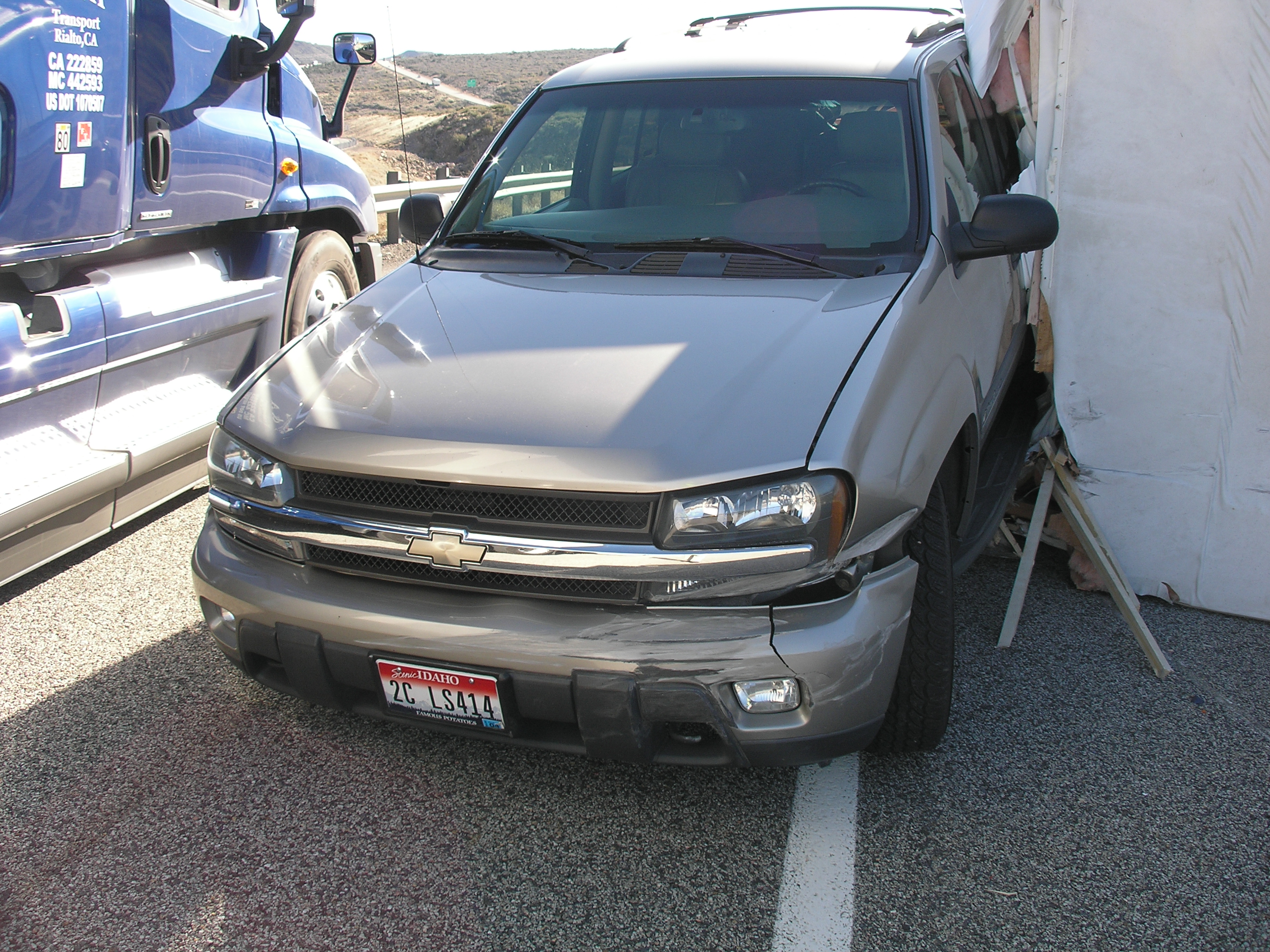 A Chevrolet Trailblazer sustained damage following collision on I-15, near milepost 29, Toquerville, Utah, Feb. 17, 2015 | Photo courtesy of the Utah Highway Patrol, St. George News