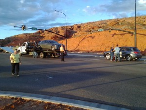 Two-car collision on Red Hills Parkway, St. George, Utah, Feb. 7, 2015 | Photo by Craig Bennett, St. George News