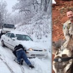 Photo on left: Search and rescue volunteers rescue stranded campers in Oak Grove; photo on right: Washington County Sheriff Cory Pulsipher, background, and a BLM ranger ride two mules from a rescue scene in the Warner Valley area of Washington County, Utah, Feb. 28, 2015 | Photos courtesy of Washington County Search and Rescue, St. George News