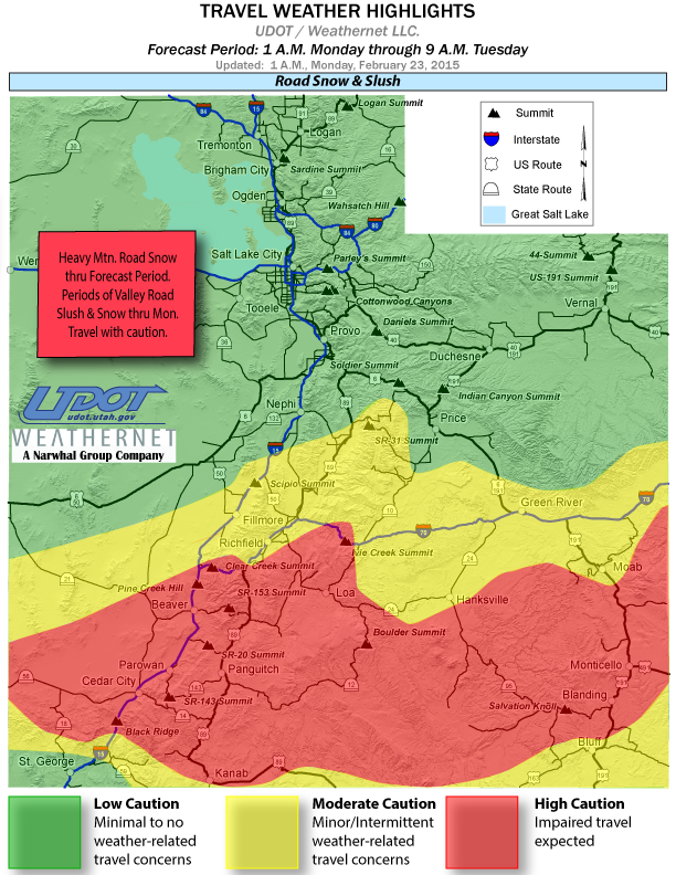 Travel weather highlights map, Utah, as of 1 a.m., Feb. 23, 2015   Map courtesy of Utah Department of Transportation, St, George News