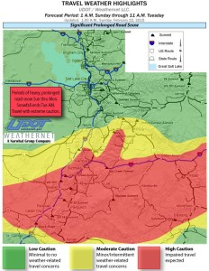 Travel weather highlights map, Utah, as of 1: 00 a.m., Feb. 22, 2015 | Map courtesy of Utah Department of Transportation, St, George News