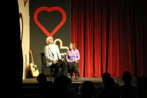 "Drew Durrant pulls an audience member up onstage during a ""Super Special Singles"" skit, Rattlin' D Playhouse, Hurricane, Utah, February 2015 