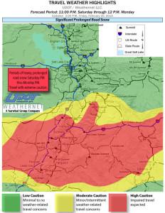 Travel weather highlights map, Utah, 4 p.m. Feb. 20, 2015 | Map courtesy of Utah Department of Transportation, St, George News