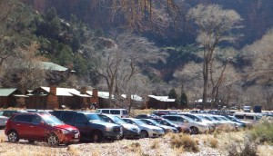 Parking lots at Zion National Park were overflowing for the Presidents Day weekend, Zion National Park, Feb. 16, 2015 | Photo courtesy of Dan Mabbutt, St. George News