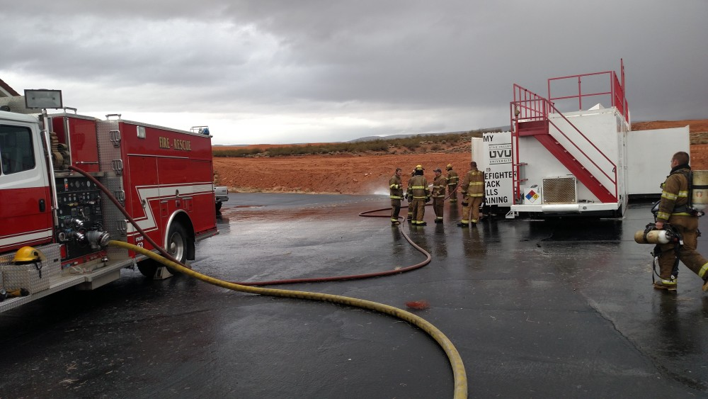 Local firefighters use a special training trailer on loan from the Utah Fire and Rescue Academy for their certification training,  Washington City, Utah, Feb. 28, 2015 | Photo by Mori Kessler, St. George News