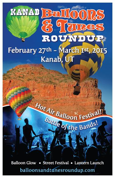 Flyer for Kanab Balloons & Tunes Roundup, Kanab, Utah, Feb. 27, 2015 | Image courtesy of Kanab Balloons & Tunes Roundup, St. George News