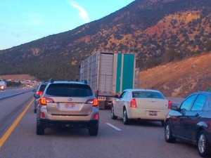 Traffic is backed up on Interstate 15 due to a two-vehicle collision, Washington County, Utah, Feb. 16, 2015 | Photo by Kimberly Scott, St. George News