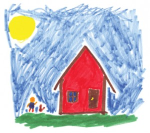 A children's drawing of a home and family, location and date unspecified   Image courtesy of Lani Puriri, St. George News