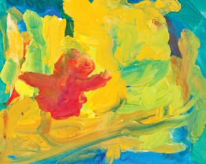 A children's drawing, abstract gouache, location and date unspecified   Image courtesy of Lani Puriri, St. George News