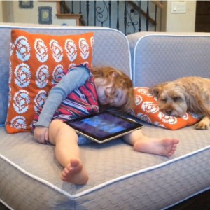 Screenshot of Avery Brownstein and family dog, Atticus, in the video selected as a finalist on America's Funniest Home Videos, Santa Clara, Utah, Dec., 2014 | Photo courtesy of Rebecca Brownstein, St. George News