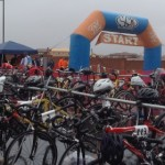 Participants stage their bikes in the transition zone and get set to participate in the Road Rage Duathlon, St. George, Feb. 28, 2015 | Photo by Hollie Reina, St. George News