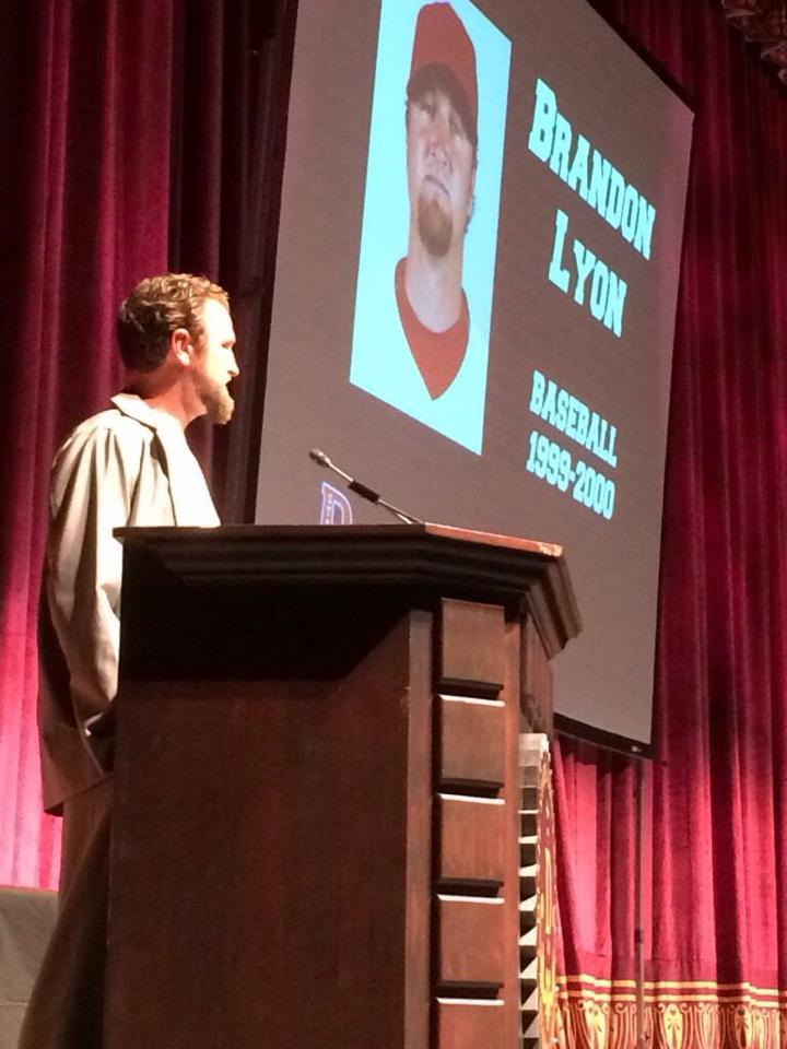 Brandon Lyon gives his Dixie State Hall of Fame acceptance speech. St. George, Utah, Feb. 11, 2015 | Photo courtesy Devin Dixon