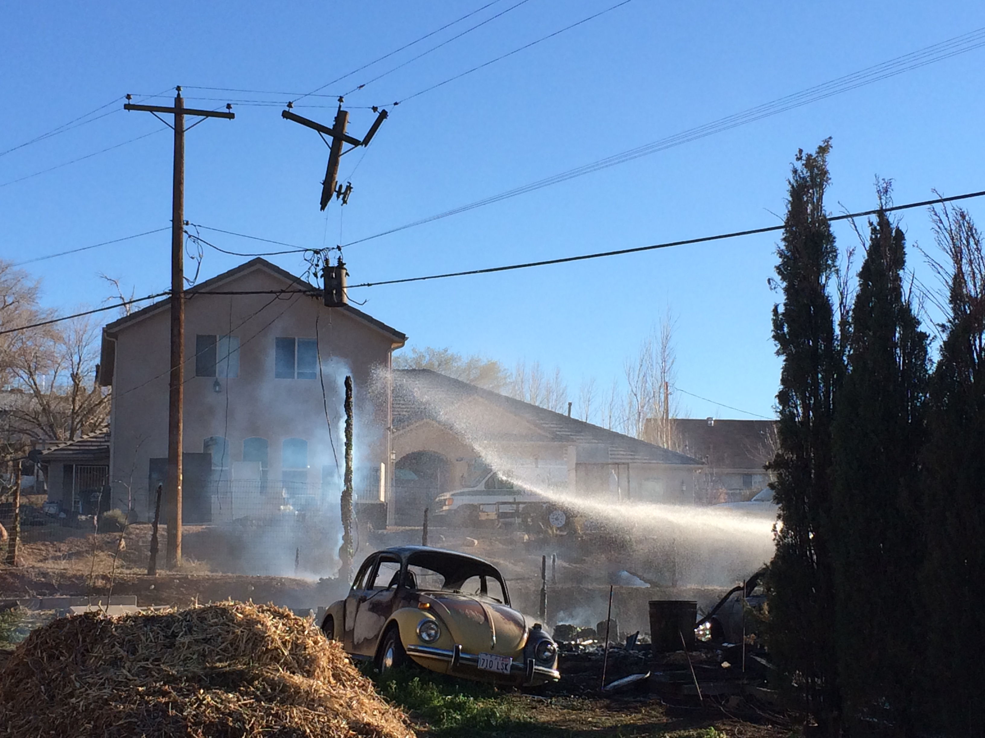A home, located at 341 W. 600 North, and a power pole  went up in flames, Laverkin, Utah, Feb. 24, 2015 | Photo by Kimberly Scott, St. George News