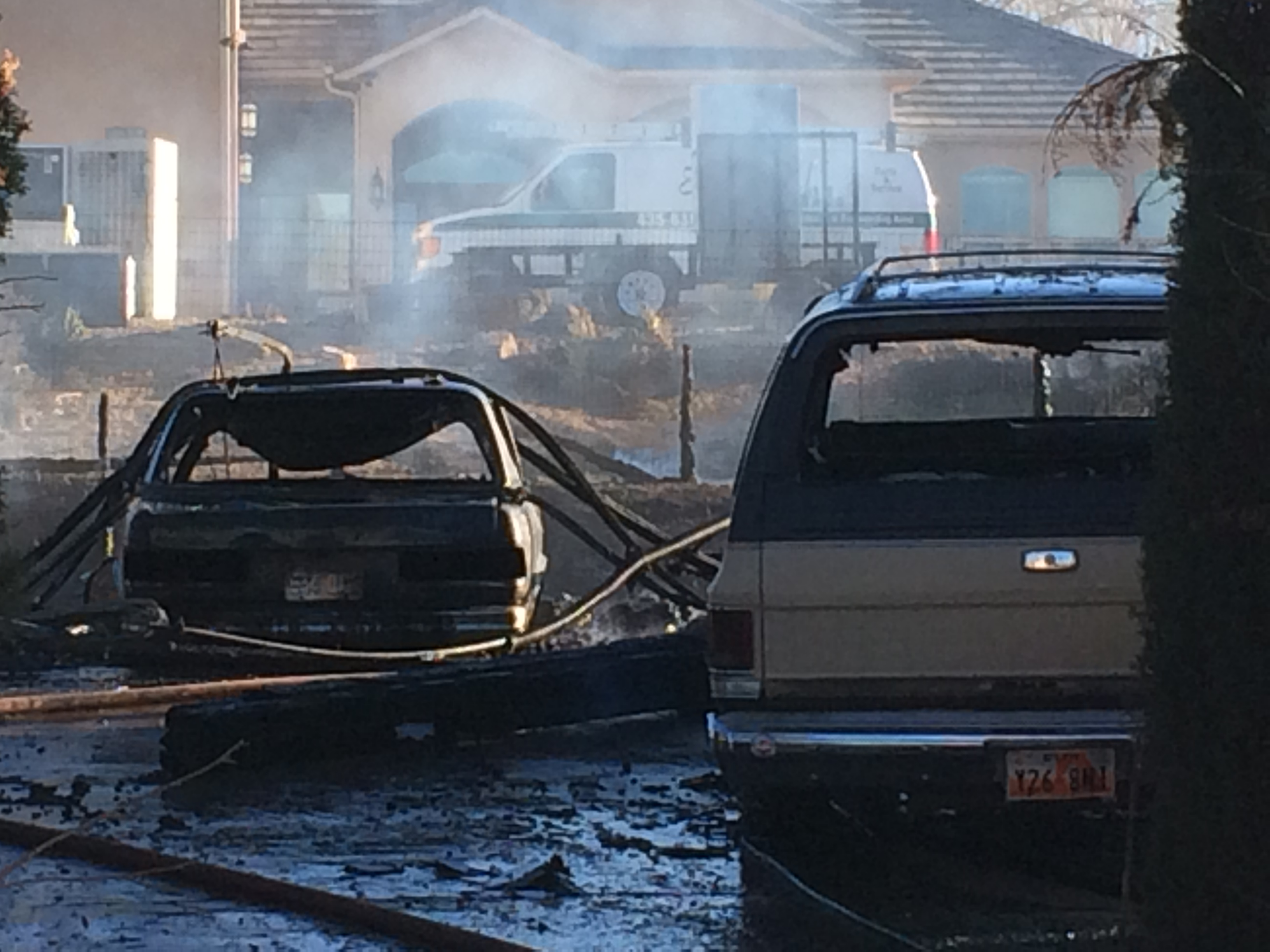 A fire destroyed three vehicles and a home, located at 341 W. 600 North, Laverkin, Utah, Feb. 24, 2015 | Photo by Kimberly Scott, St. George News