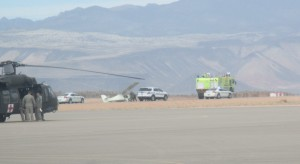 An experimental plane crashed at the St. George Municipal Airport due to being caught by a crosswind while landing, St. George, Utah, Feb. 21, 2015   Photo by Mori Kessler, St. George News