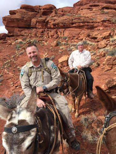 Washington County Sheriff Cory Pulsipher, background, and a BLM ranger ride two mules from a rescue scene in the Warner Valley area of Washington County, Utah, Feb. 28, 2015 | Photos courtesy of Washington County Search and Rescue, St. George News