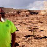 City arborist Tim Hopkinson standing in front of multiple rows of trees at the city's tree farm, St. George, Utah, Feb. 26, 2015 | Photo by Mori Kessler, St. George News
