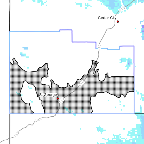 Dots denote affected areas, 9:55 a.m. MST, Feb. 23, 2015   Image courtesy of National Weather Service, St. George News