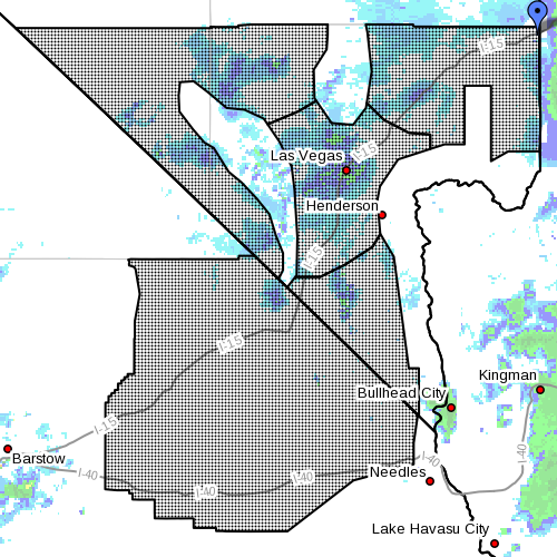 Dots denote affected areas, 5:30 a.m. PST, 6:30 a.m. MST, Feb. 23, 2015 | Image courtesy of National Weather Service, St. George News