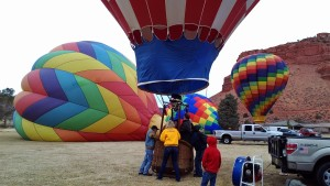 "The ""Spirit in the Sky"" ballooning team gets ready to launch their hot air balloon, Kanab, Utah, Feb. 27, 2015 