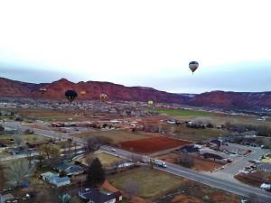 A view from a hot air balloon high above Kanab, Utah, Feb. 27, 2015   Photo by Cami Cox Jim, St. George News