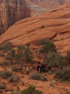 Emergency responders carry out a  woman who fell and rolled 30 feet off a trail, Petrified Dunes, Snow Canyon State Park, March 11, 2015 | Photo by Leanna Bergeron, St. George News