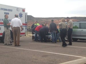 Emergency responders prepare to load a woman who fell and rolled 30 feet off a trail into an ambulance, Petrified Dunes, Snow Canyon State Park, March 11, 2015 | Photo by Leanna Bergeron, St. George News