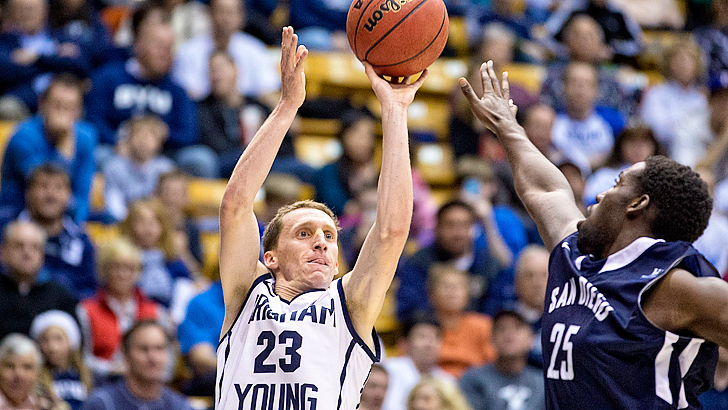 Skyler Halford's shooting has been key this year for BYU. | Photo by Jaren Wilkey/BYU