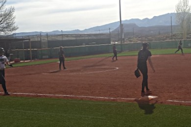 Desert Hills at Snow Canyon, girls softball, St. George, Utah, Mar. 17, 2015 | Photo by Andy Griffin
