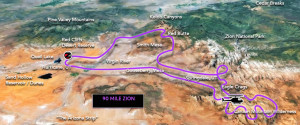 Map of 90 mile Zion tour with Zion Helicopters | Photo courtesy of Zion Helicopters website, St. George News