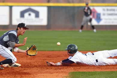 Snow Canyon's Nick Dolce slides in to second base on a steal attempt as Panther short stop Tyler Johnston takes the throw, Pine View vs. Snow Canyon, Baseball, St. George, Utah, Mar. 17, 2015 | Photo by Robert Hoppie, ASPpix.com, St. George News
