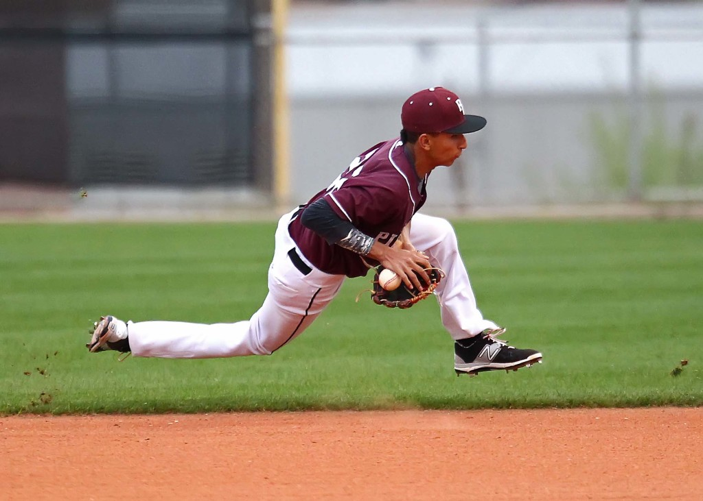 Panther second baseman Logan LaFemina fields a tricky hop for an out, Snow Canyon vs. Pine View, baseball, St. George, Utah, Mar. 18, 2015 | Photo by Robert Hoppie, ASPpix.com, St. George News