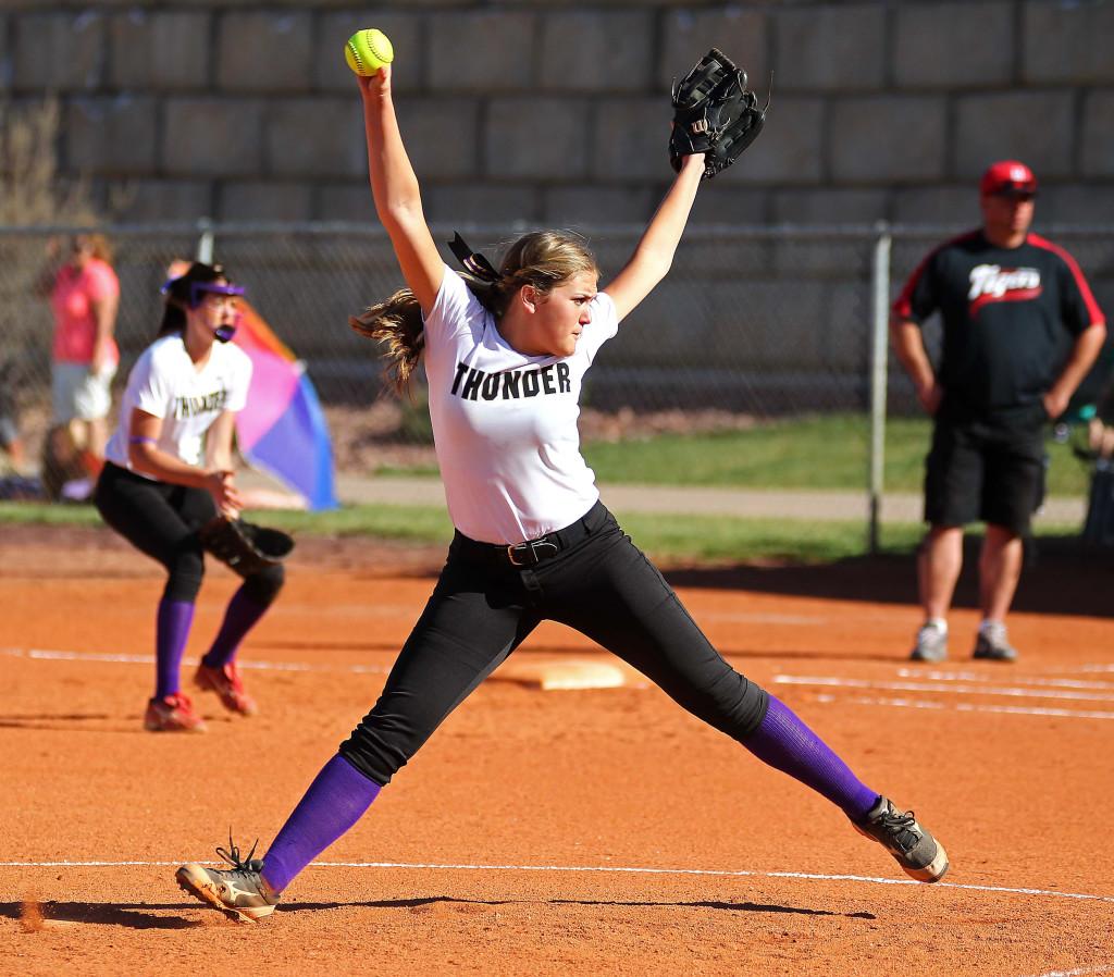 Desert Hills pitcher Sophie Wilcox, Hurricane vs. Desert Hills, Softball, St. George, Utah, Mar. 19, 2015 | Photo by Robert Hoppie, ASPpix.com, St. George News