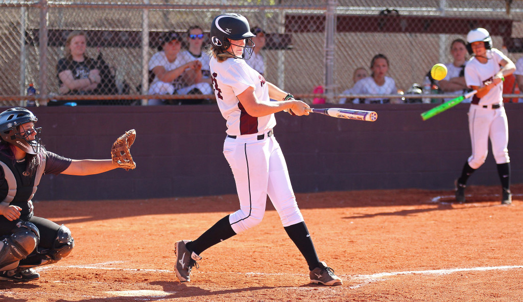 Addi Horspool makes contact for the Panthers, Desert Hills vs. Pine View, Softball, St. George, Utah, Mar. 24, 2015 | Photo by Robert Hoppie, ASPpix.com, St. George News