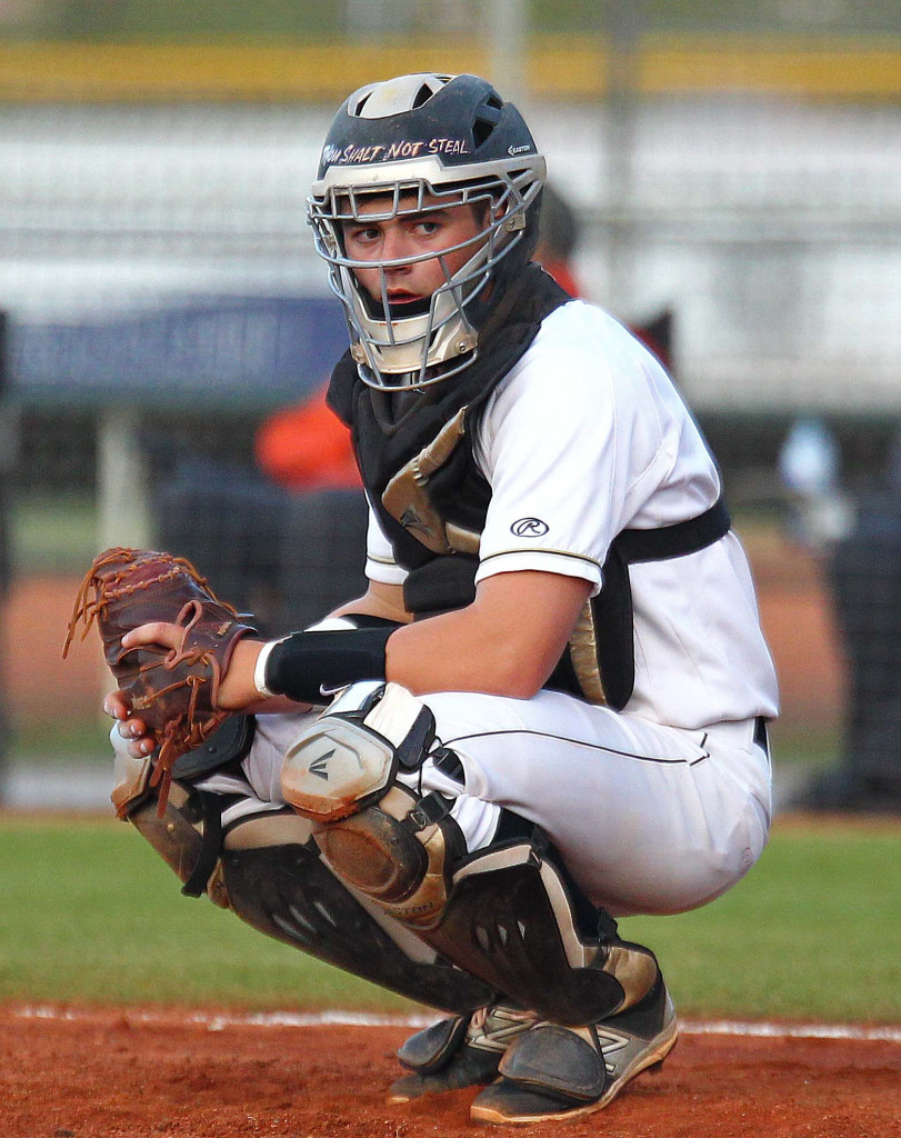 Desert Hills catcher Wyatt Bendall, Cedar vs. Desert Hills, Baseball, St. George, Utah, Mar. 24, 2015 | Photo by Robert Hoppie, ASPpix.com, St. George News